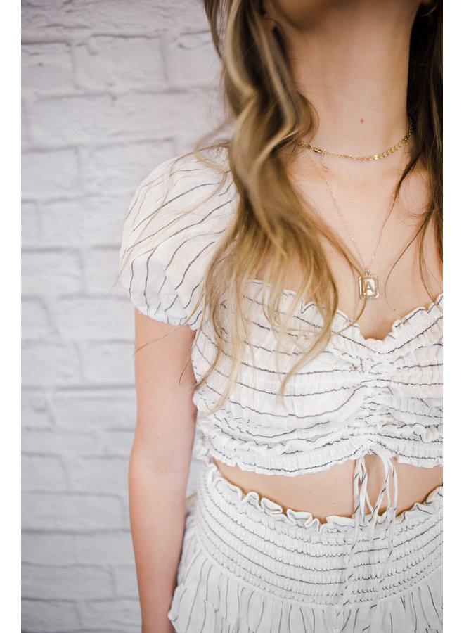 White Striped Skirt Set