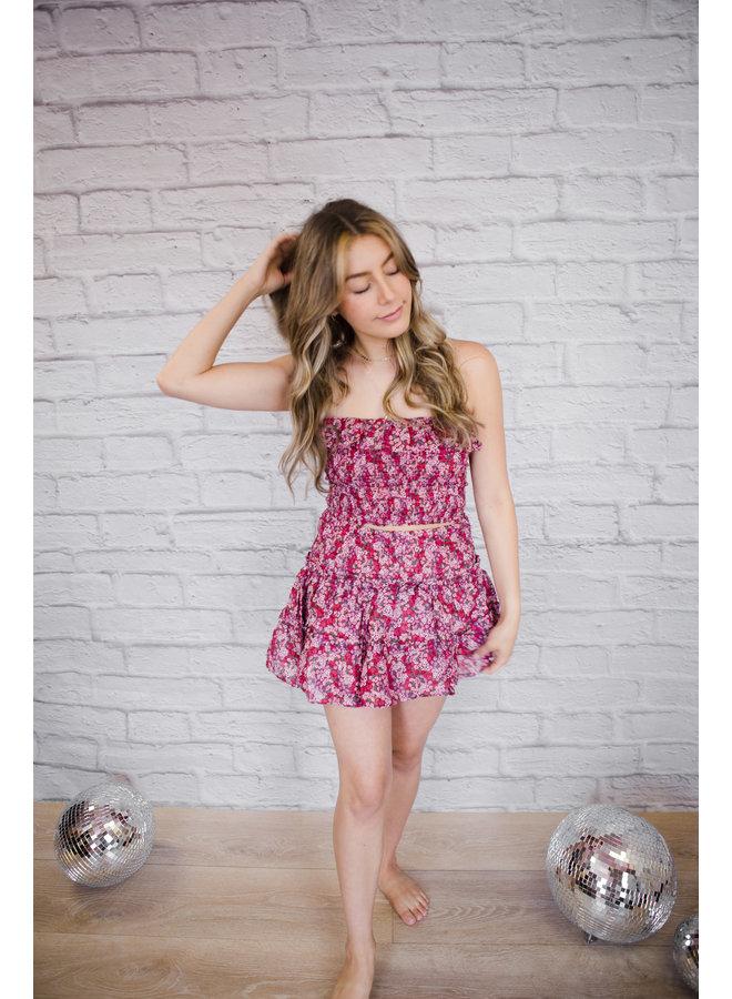 Raspberry Floral Set Skirt