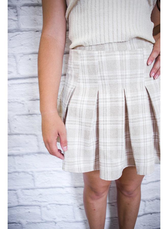 Oatmeal Plaid Tennis Skirt