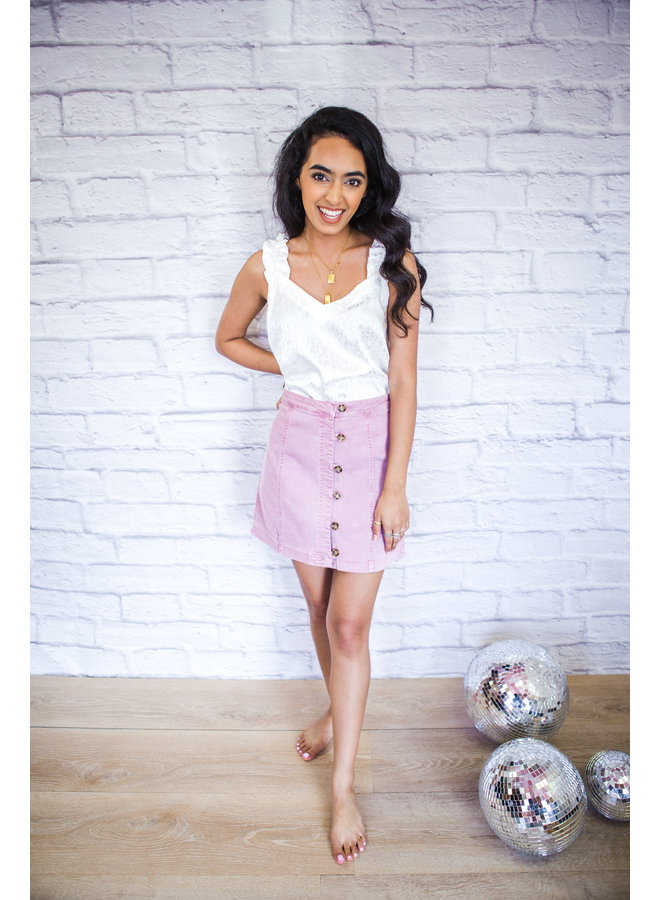 Mauve Button Down Garment Washed Skirt