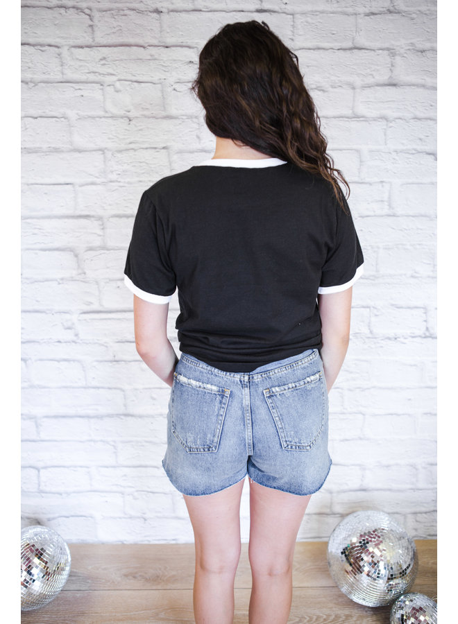 Super Hi Rise Distressed Button Fly Shorts