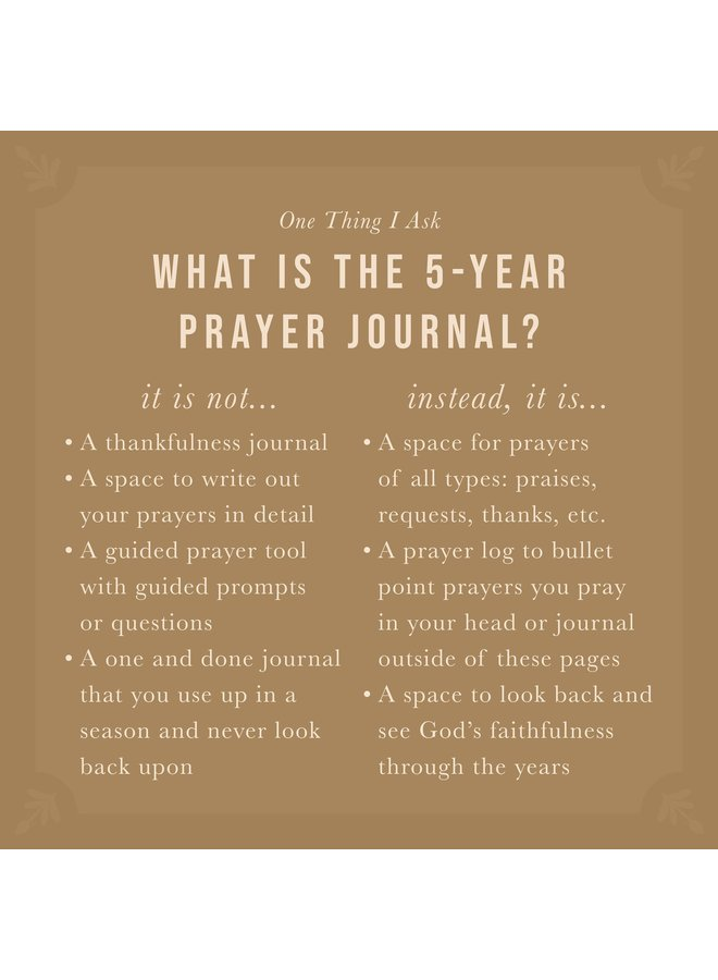 Victoria - One Thing I Ask 5 Year Prayer Journal