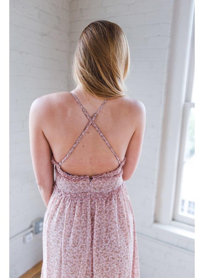 Rose Woven Print Cami Midi Dress