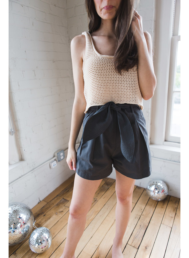 Charcoal Green Belted Twill Short