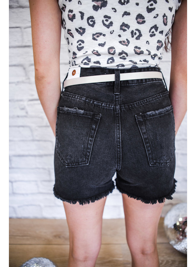 W.BLK - High Rise Distressed Short