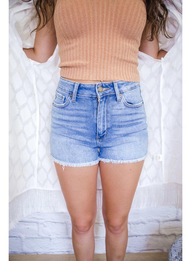 Hi Rise Frayed Hem Shorts