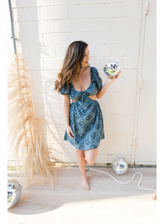Navy Floral Print Cut Out