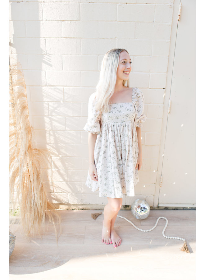 Nude Floral Puff Sleeve Dress