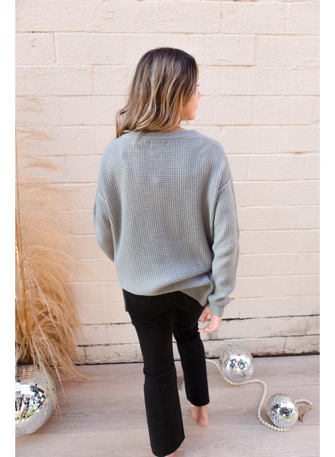 Waffle Knit Henley Sweater