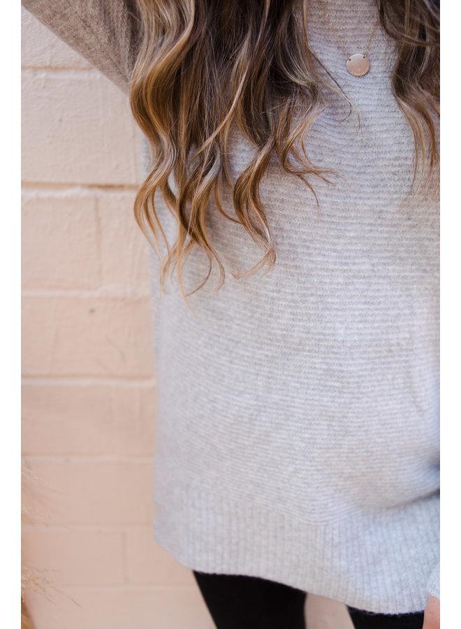 Ribbed Waffle Knit Boxy Sweater