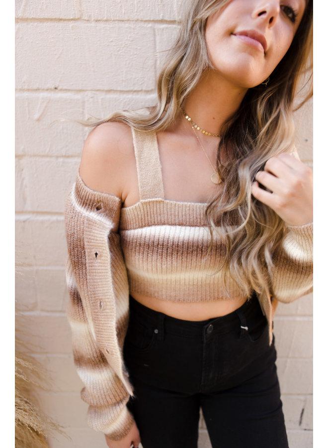 Brown Multi Sweater Crop Top