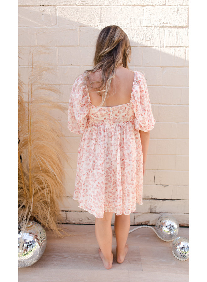 Pink Watercolor Floral Print Babydoll Puff Sleeve