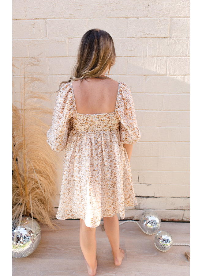 Gold Multi Floral Dress