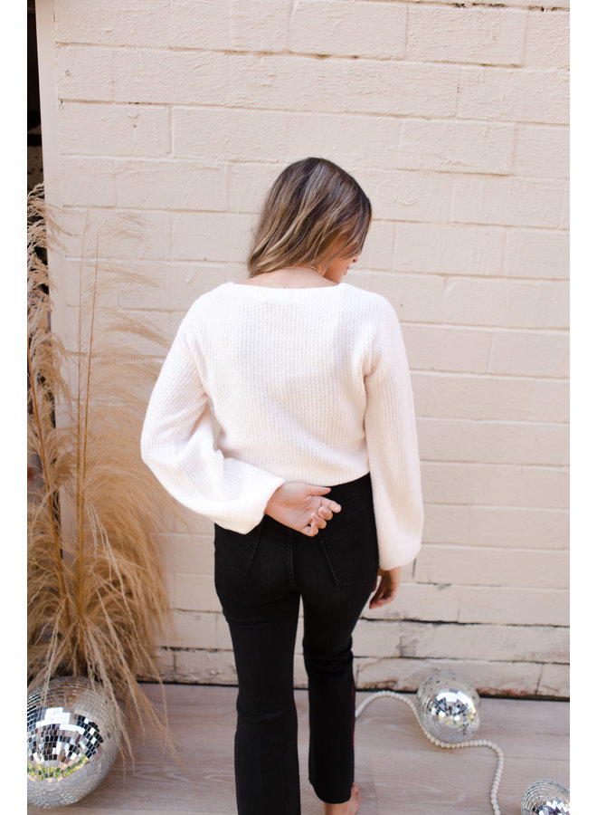 Drawstring Ruched Puff Sleeve Sweater