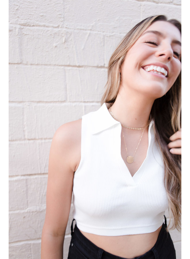Soft Knit Collar Cropped Sleeveless