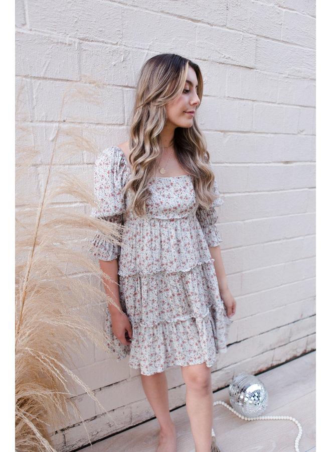 Beige Bow Tie Floral Dress
