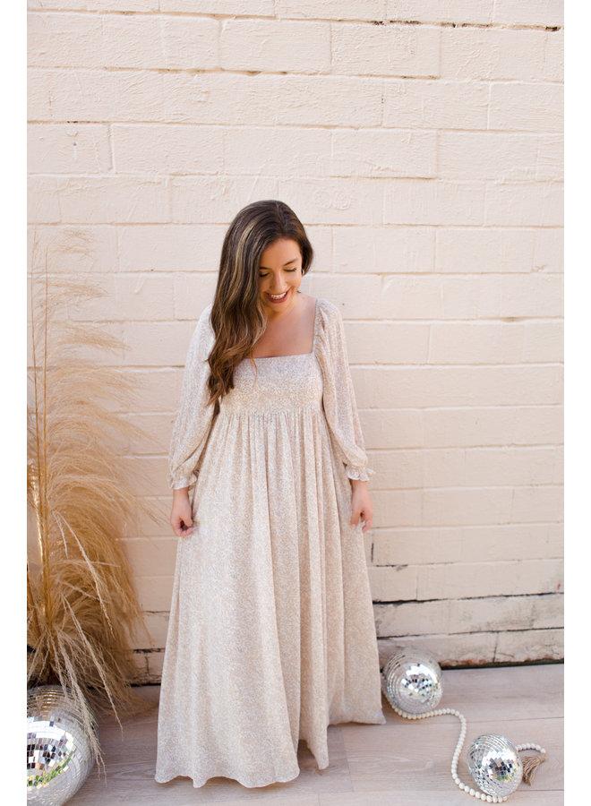 Beige Patterned Dress