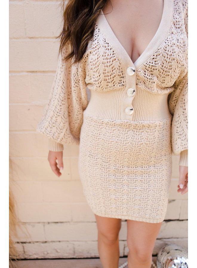 Taupe Sweater Knit Sleeve Dress