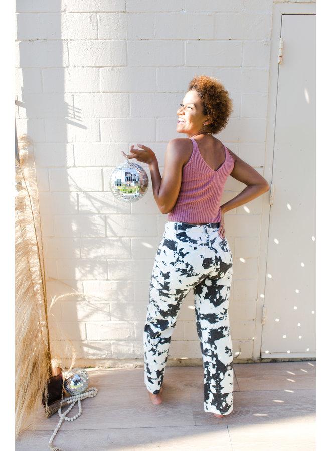B&W Cow Print Pants