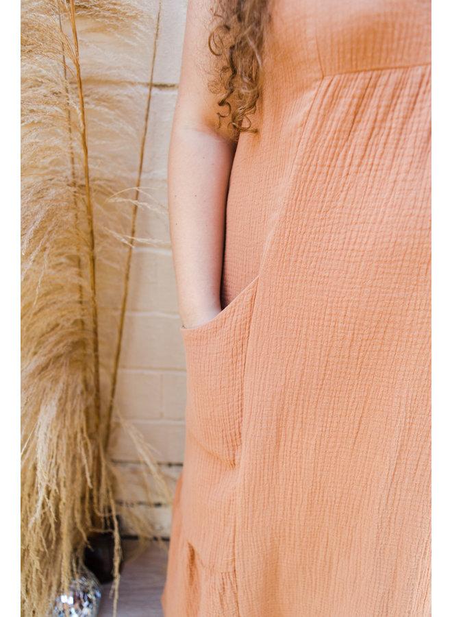 Camel Ruffle Midi Dress