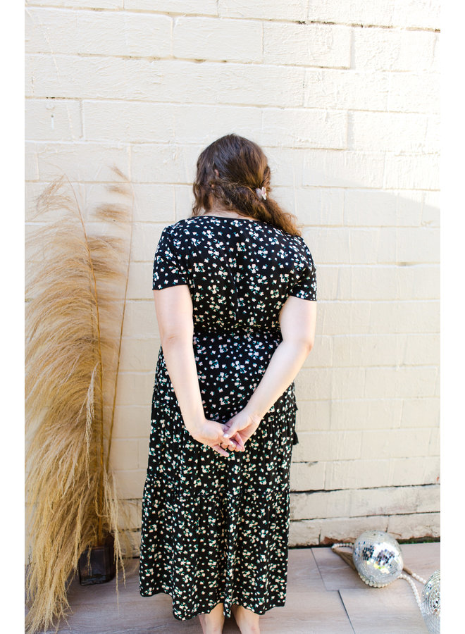 Black Floral  Short Sleeve Long Dress