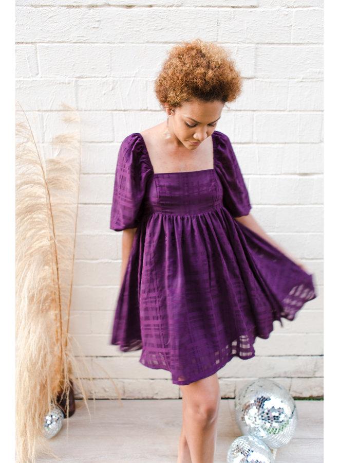 Deep Purple Puff Sleeve Dress