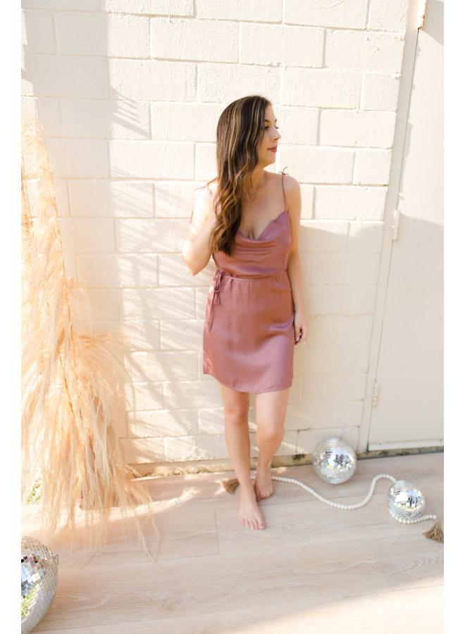 Desert Rose Cowl Neck Shoulder Tie Satin Dress