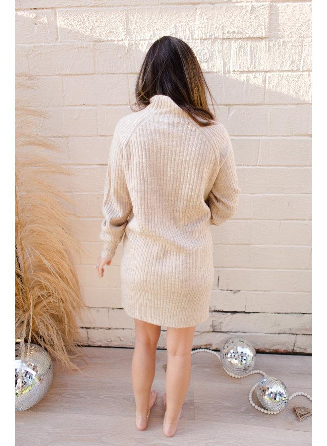 Ribbed Long Sleeve Mock Neck Sweater Dress