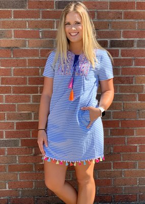 Blue and white striped dress colorful embroidery & tassels