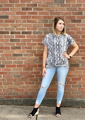 Snake print top with twist center