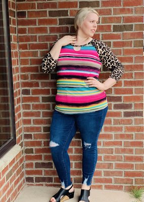 Colorful striped top with leopard sleeves & keyhole