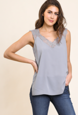 Red Door Grey Lace Strap V Neck Tank