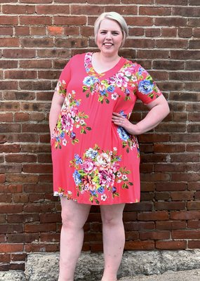 Curvy coral tshirt dress with bold floral and buttons