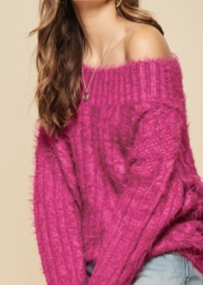 Magenta furry sweater