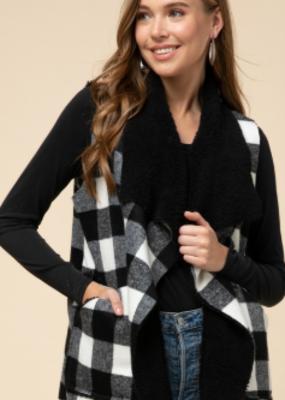 Buffalo plaid fuzzy vest with pockets