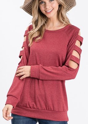 Red Door Burgundy top with ladder sleeve