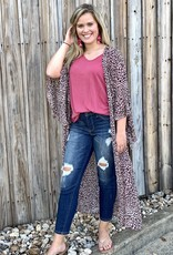 Red Door Dusty pink leopard duster w/ angle sleeves