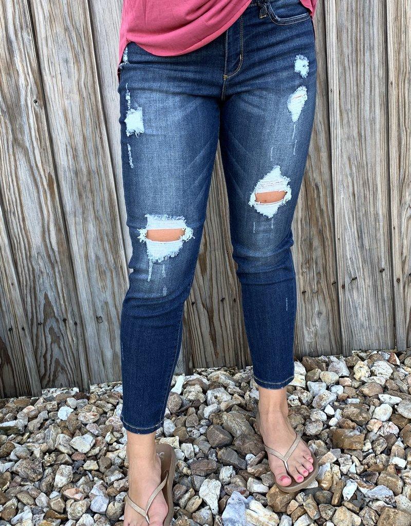 Judy Blue Joslyn's dark destroyed boyfriend jeans-Judy Blue