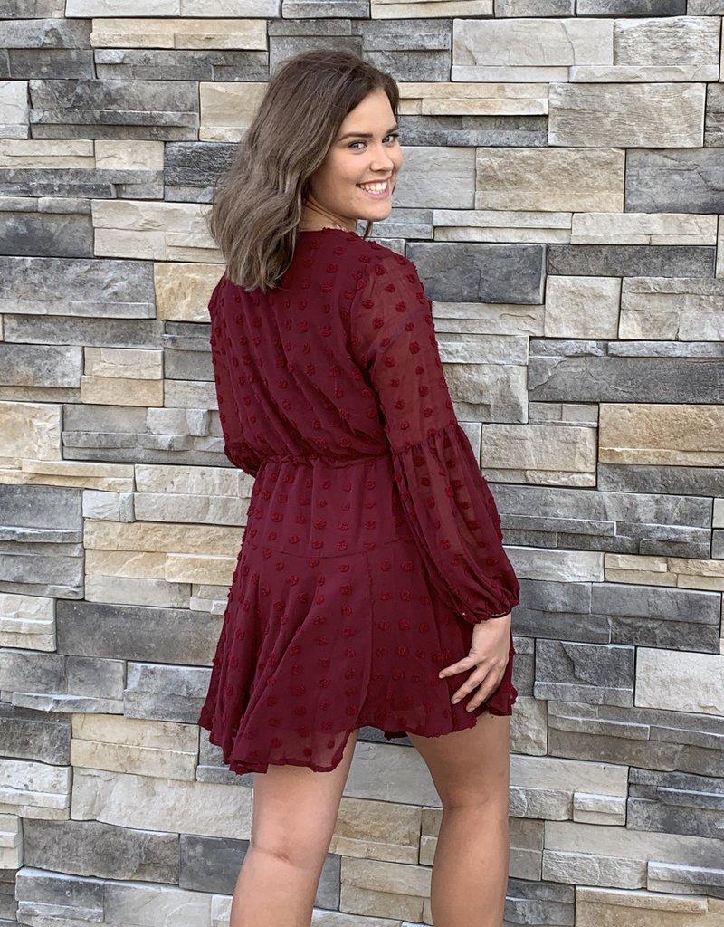 Red Door Swiss dot tunic w/ sheer sleeves