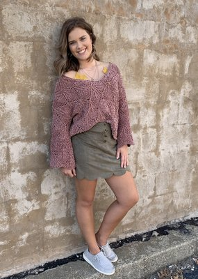 Scalloped olive skirt w/buttons