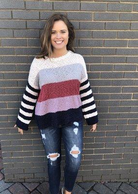 Multi stripe popcorn pullover sweater