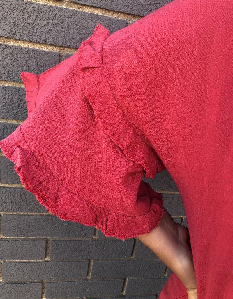 Red Door Red linen bell sleeve top w/ front tie & buttons