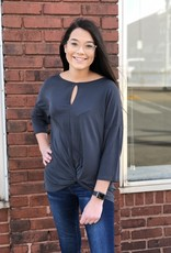 Red Door Twist front ¾ sleeve top with key hole