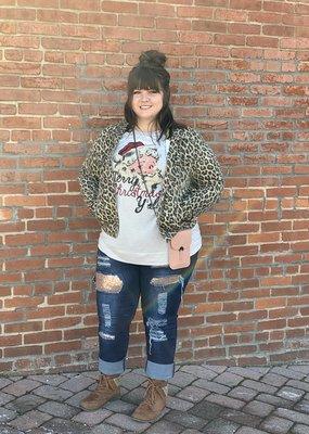 Red Door Leopard denim jacket