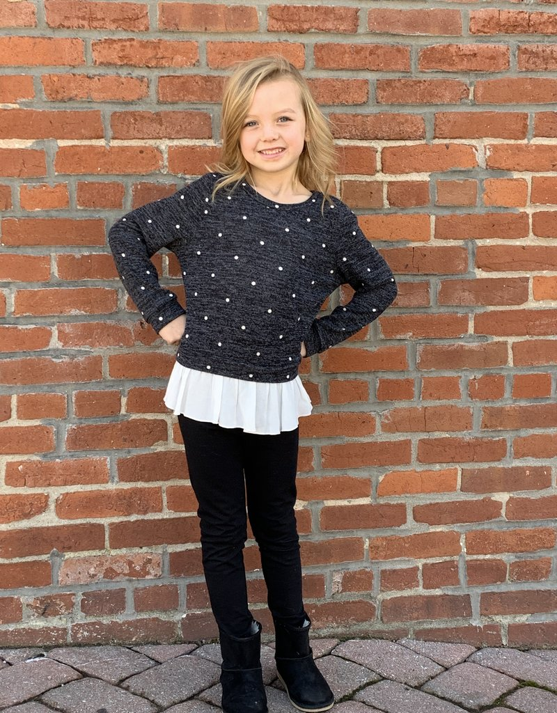 Red Door Charcoal polkadot sweater with ruffle bottom