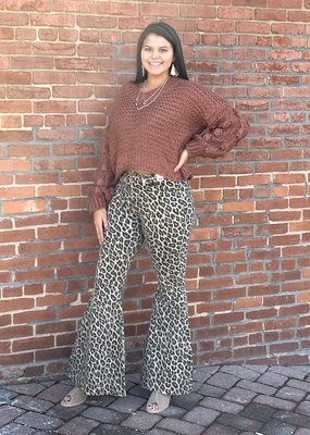 Red Door Kiah leopard high waist super flare jeans