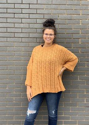 Mustard cuffed chenille knit sweater