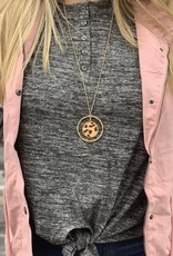 Red Door Charcoal heathered button detail top