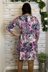 Red Door Ivory/Pink patterned dress