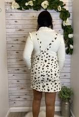 Red Door Vintage white leopard skirt overalls